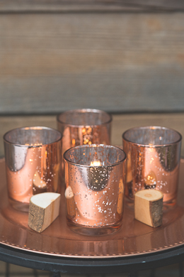 Richland Votive Holder Grande Rose Gold Mercury Glass Set of 12