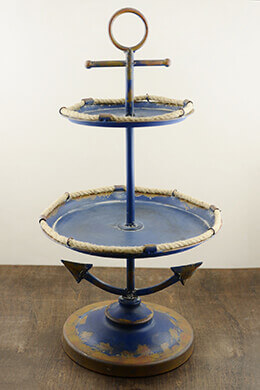 "27"" Blue Antiqued Nautical 2-Tier Anchor Display"