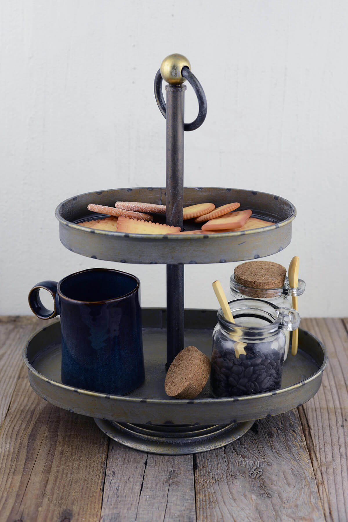 2-Tier Weathered Gray Pedestal Tray  15x12