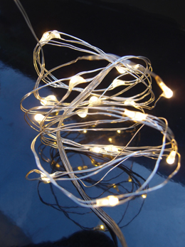 LED Fairy Lights, 20 LEDs  Battery Operated 6 Foot, Warm White Silver Wire, Strand Submersible