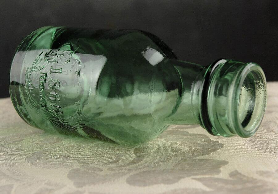 Green Glass Honey Bottle 6in