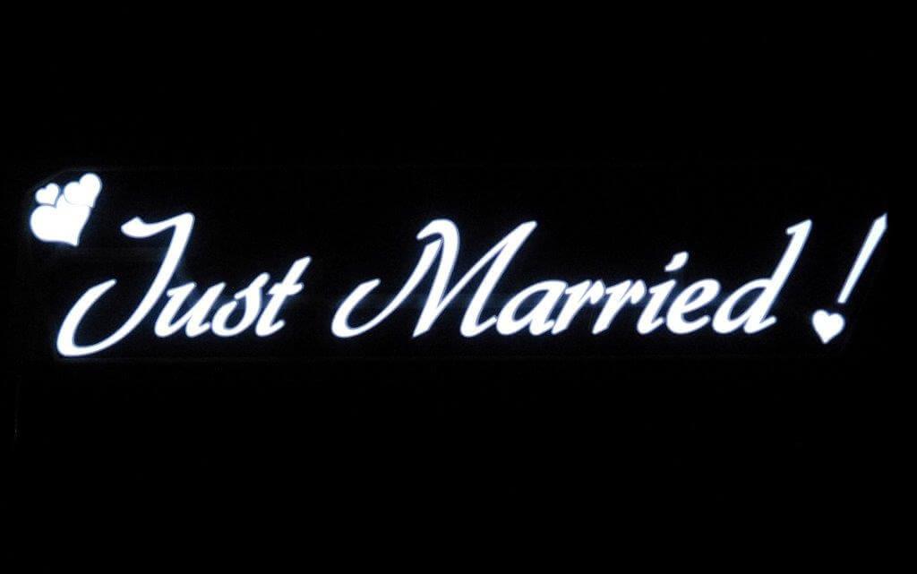 "El Wire ""Just Married"" Sign Battery Op, Flat Panel El Wire"