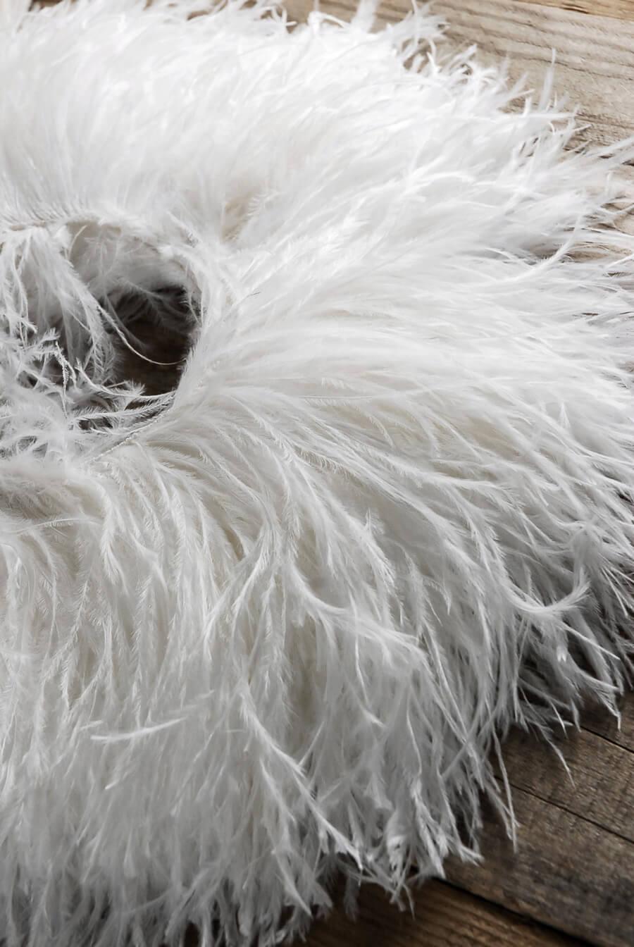 "Highest Quality Ostrich Feathers Trim White  7"" x 2 yards"