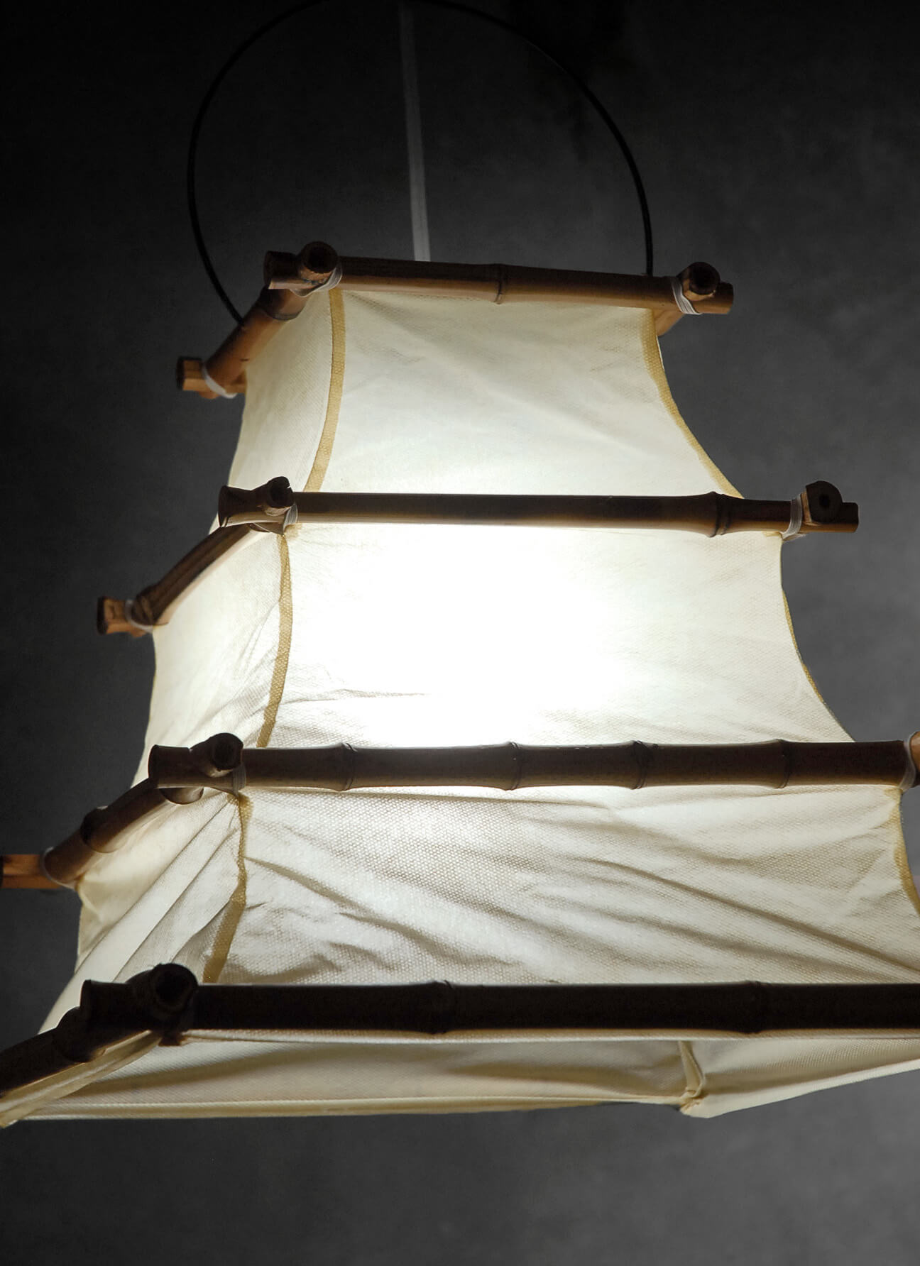 Bamboo And Cloth Hanging Lantern 16x12