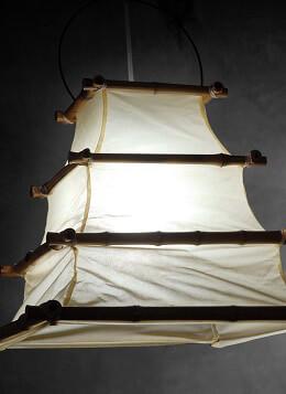 Bamboo and Cloth Hanging Lantern 16x12