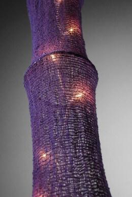 Fishing Net and Bamboo 5 FT Hanging Lantern w/ Lights Purple