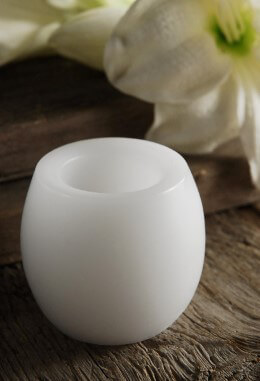 Wax Flickering LED Barrel Votive Candle White 2in