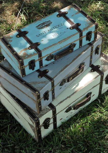 Decorative Luggage Box Beauteous Three Piece Decorative Distressed Wood Trunk Set Inspiration