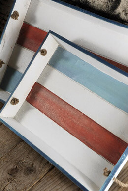 2 Rope Handle Nautical Trays