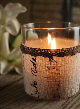 Linen Wrapped Votive Candle Holders
