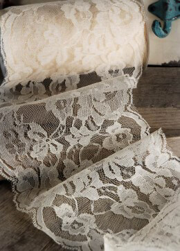 "Ivory Lace Ribbon  5"" wide x 10 yards"