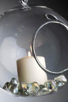 """Flat Bottom 7"""" Clear Hanging Glass Balls, Candleholder, Terrariums"""