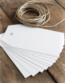 White Chalkboard Tags w/String (Pack of 10)