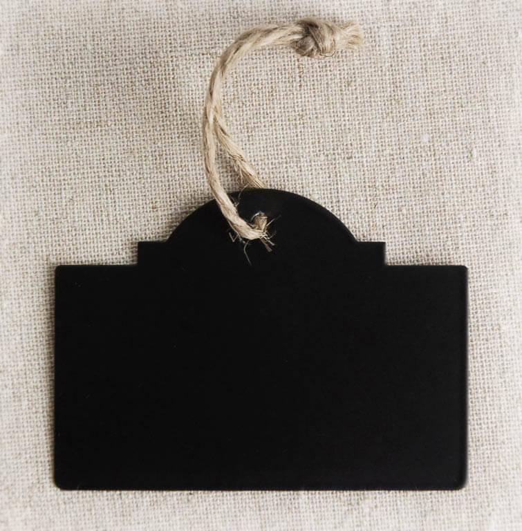 12 Black Chalkboard Tags w/Twine 2 x 2-3/4in