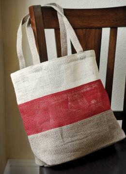 """19"""" Burlap Tote Bag Red, White &  Natural"""