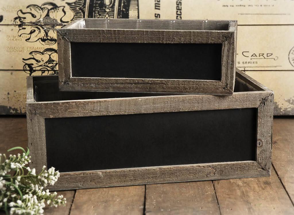 "2 Chalkboard Wood Planter Boxes 14"" & 10"""