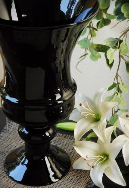 "Black Glass Urn Vase 14"""