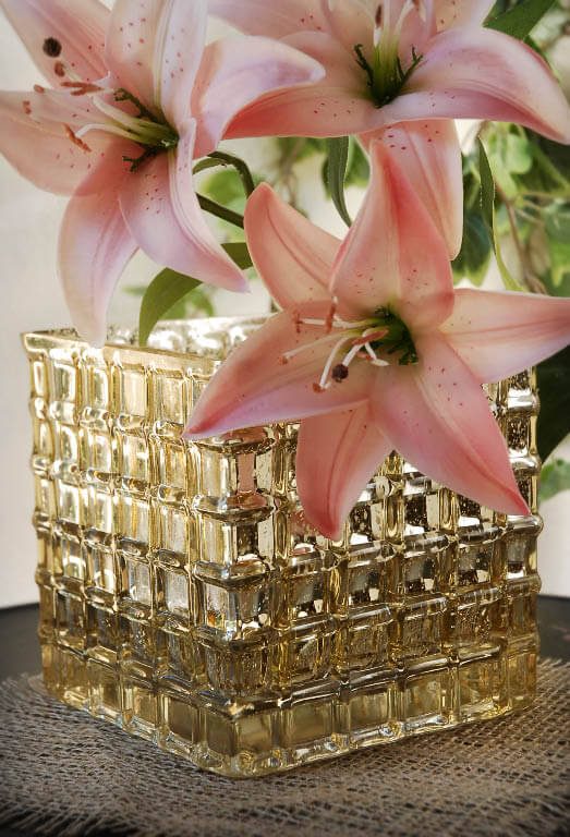 Gold Mercury Glass Cube Vase 6in