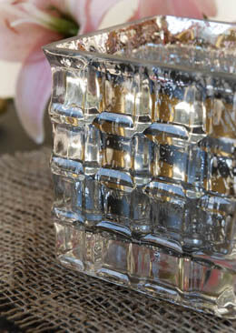 Silver Mercury Glass Cube Vase or Candleholder 4in