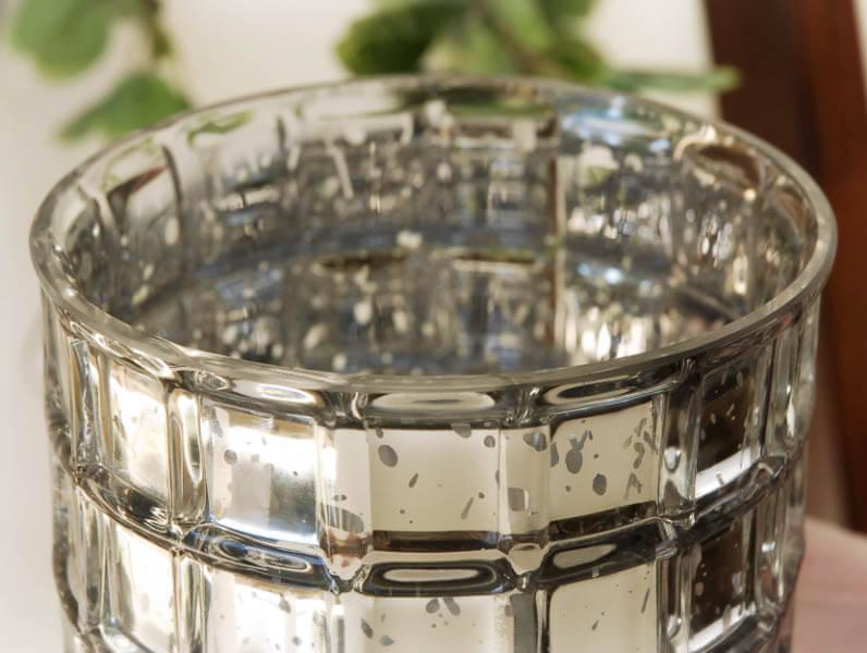 Silver Mercury Glass Cylinder Vase 10in