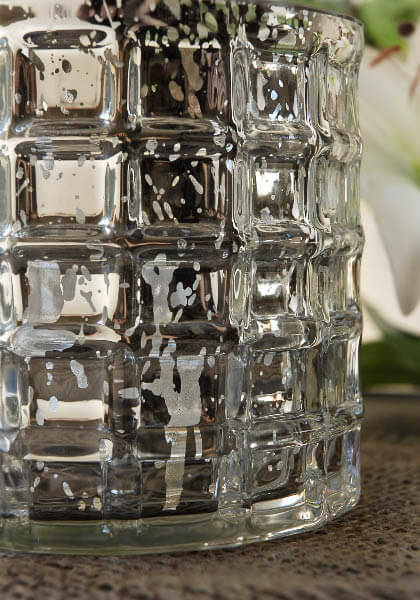 Silver Mercury Glass Cylinder Vase 4 75in