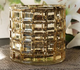 Gold Mercury Glass Cylinder Vase 4.75in