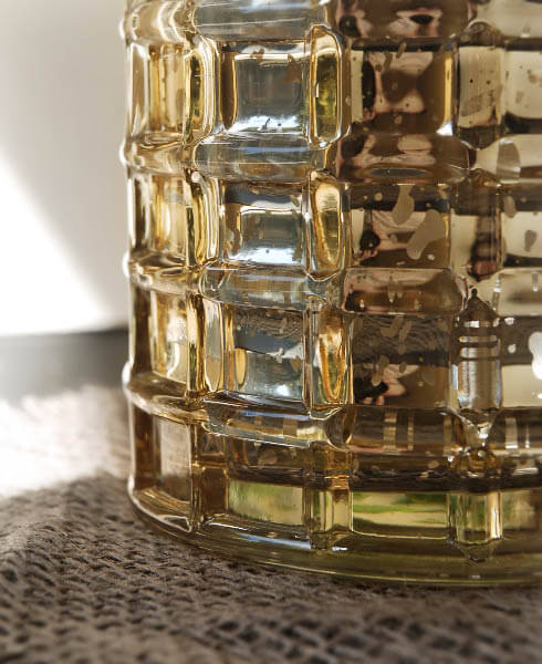 Gold Mercury Glass Cylinder Vase 4 75in