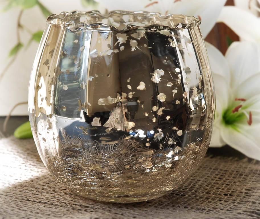 Mercury Glass Candle Holder Bowl 4x5