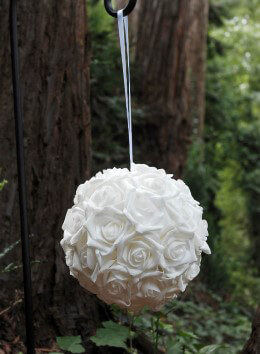 """Natural Touch 9"""" White Rose Flower Ball Decoration, Wedding Decorations"""