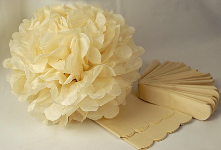 tissue paper pom poms 16 u0026quot  beige  pack of 4
