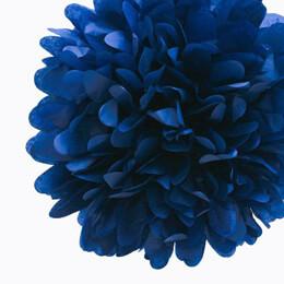 "4 Tissue Paper Pom Poms 8"" Navy Blue"