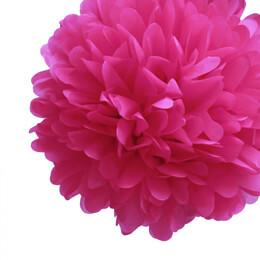 """4 Tissue Paper Pom Poms 8"""" Fuchsia"""
