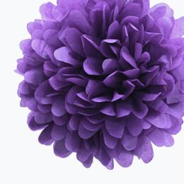 "4 Tissue Paper Pom Poms 8"" Dark Purple"