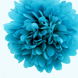 "4 Tissue Paper Pom Poms 8"" Turquoise"