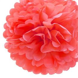 """4 Tissue Paper Pom Poms 8"""" Coral"""
