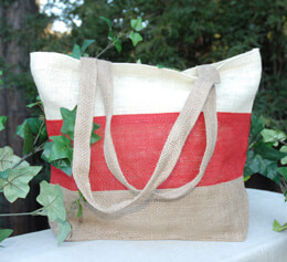 Burlap Beach Tote Bag Tri-color 11x13