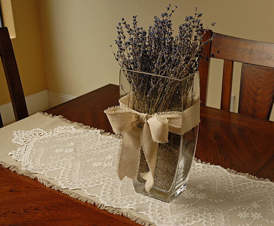 Embroidered Tulle Table Runner White 12in X 74in