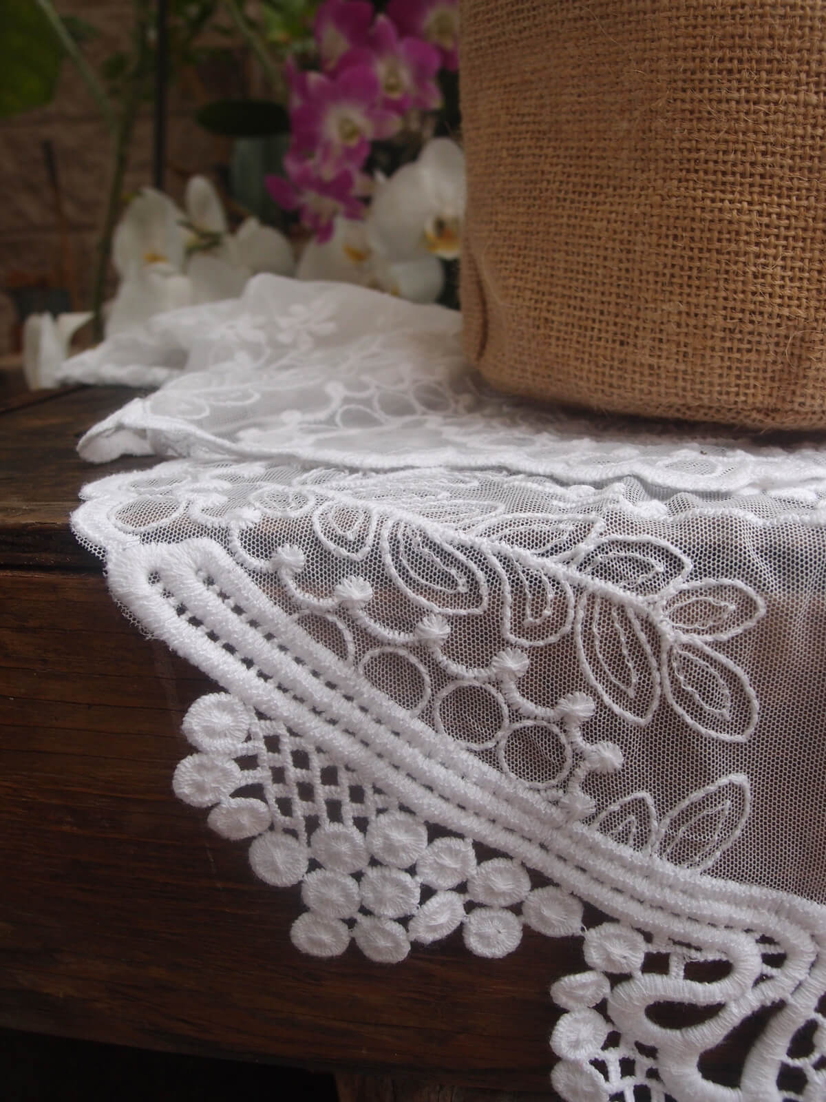 White Soft Embroidered Lace Amp Tulle 12in Runner And Chair