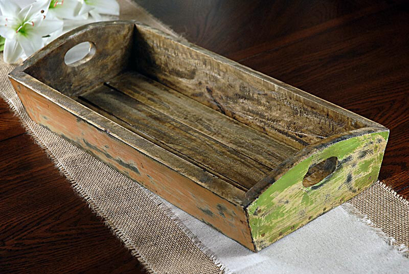 """Teak 21"""" Tray with Handles"""