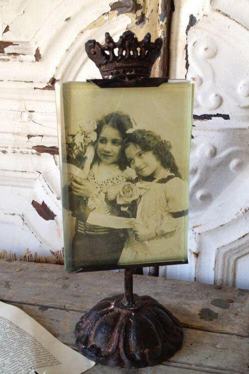 Antique Metal Photo Holder