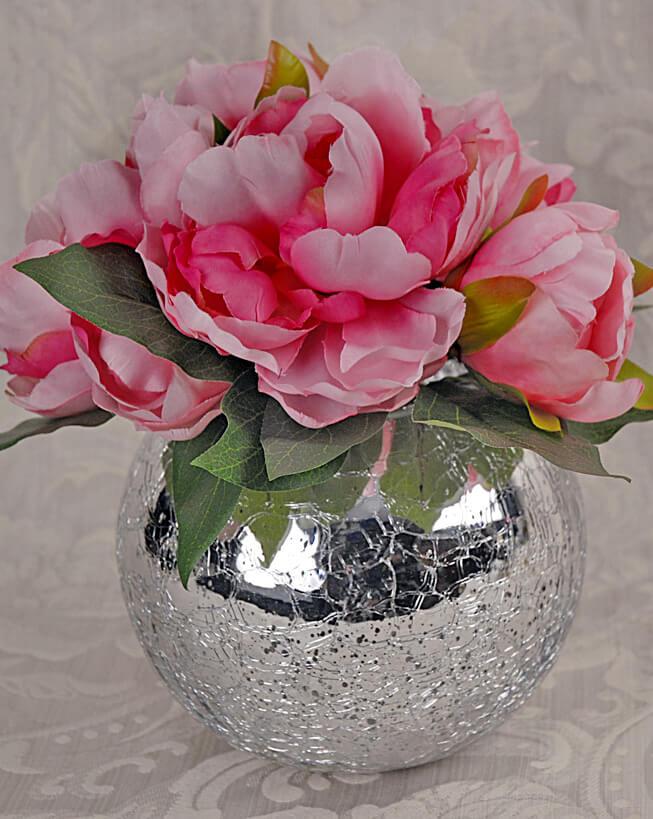 "Mercury Glass Silver Ivy Bowl  5.2"" x 6.25"""