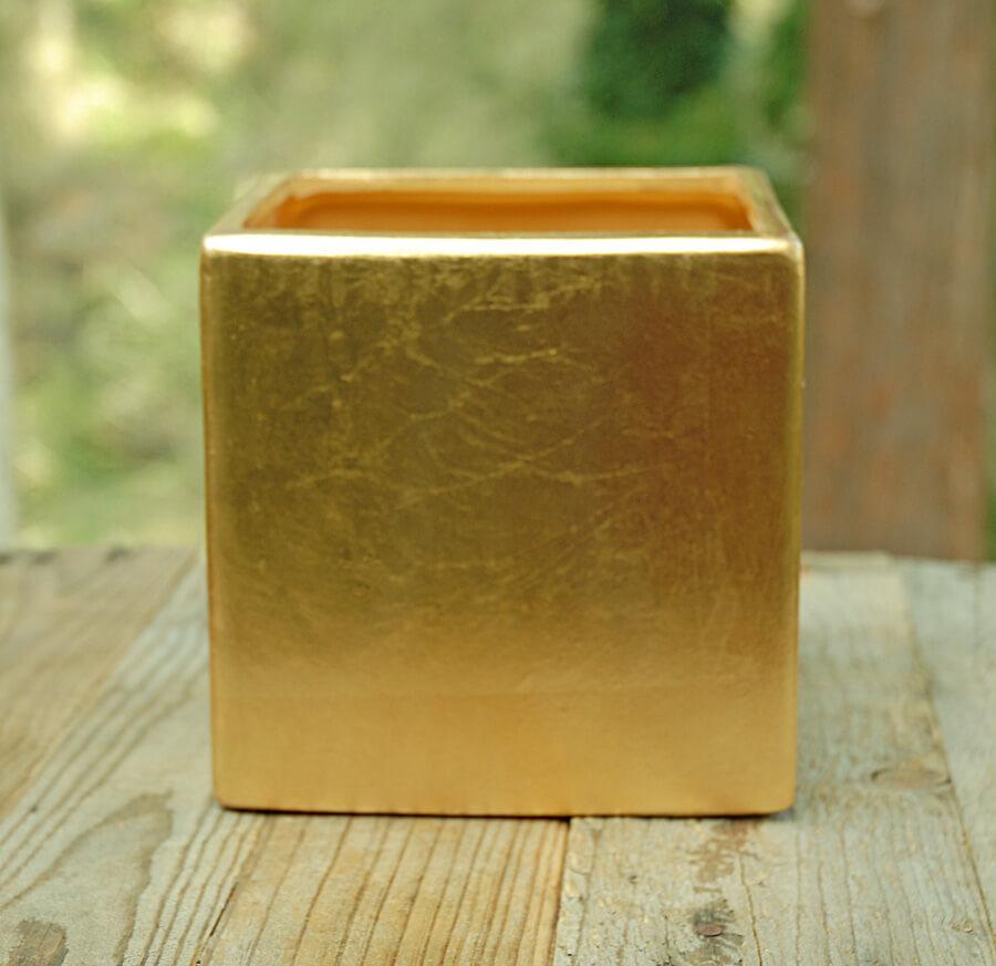 "6.5"" Square Gold Vase, Square Party Pot"