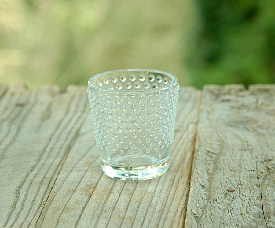 6 Glass Hobnail Votive Holders