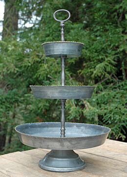"22"" Tall  Galvanized 3 Tier Dessert Display"