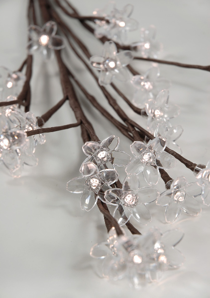 """Blooming Crystal LED Lighted Branch Warm White 36"""" Battery Operated Crystal Flowers"""