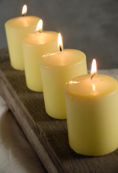 4 Buttercup Yellow Slim Pillars 3in
