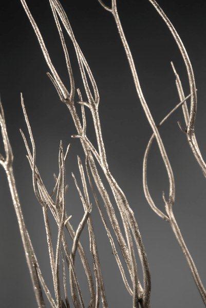 "Mitsumata Branches Platinum With Glitter 45-50"""