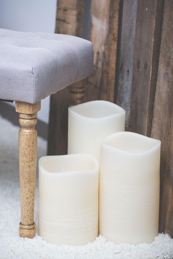"""Richland LED Big Pillar Candles Ivory 6"""" Set of 3"""