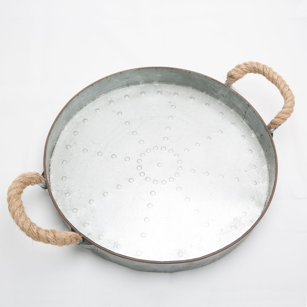 """16"""" Rope Handle Galvanized Serving Tray"""