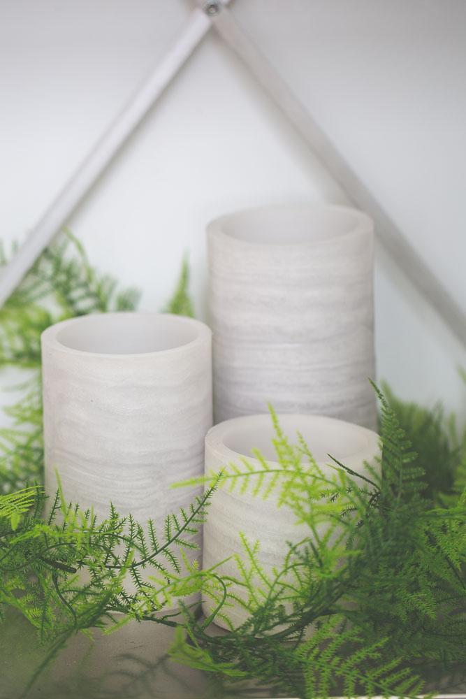 Richland Flameless LED Pillar Candle Marble Set of 3